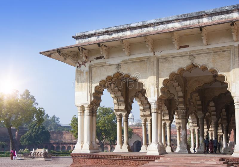 Gallery with columns in the white palace of the Red fort. Agra. India stock photography