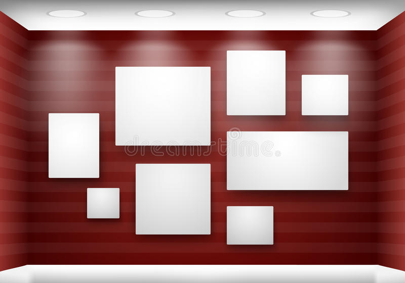 lighting frames. Download Gallery Empty Frames On Red Wall With Lighting Stock Vector - Illustration Of Inside, S