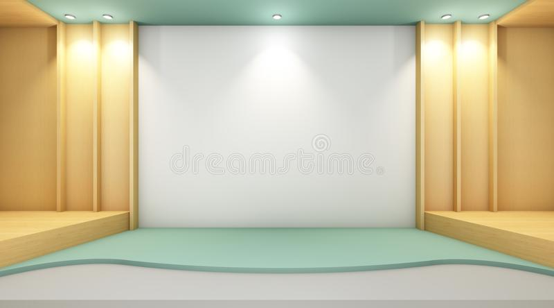 Gallery Exhibition Modern style and wall wood Contemporary installation art. /guest rooms and minimal style stock illustration