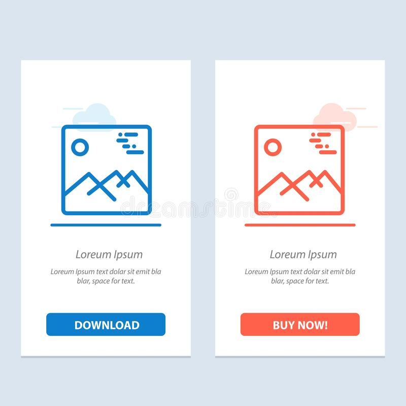 Gallery, Image, Picture, Canada  Blue and Red Download and Buy Now web Widget Card Template royalty free illustration