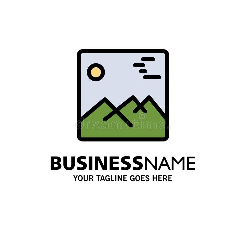 Gallery, Image, Picture, Canada Business Logo Template. Flat Color royalty free illustration