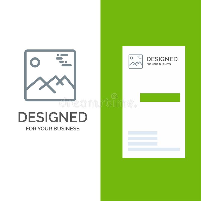 Gallery, Image, Picture, Canada Grey Logo Design and Business Card Template vector illustration