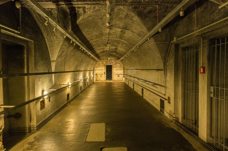 A gallery inside the bunkers under the Berghof. One of the galleries inside the bunkers existing under the Berghof at the Obersalzberg 20th May 2017 stock photography