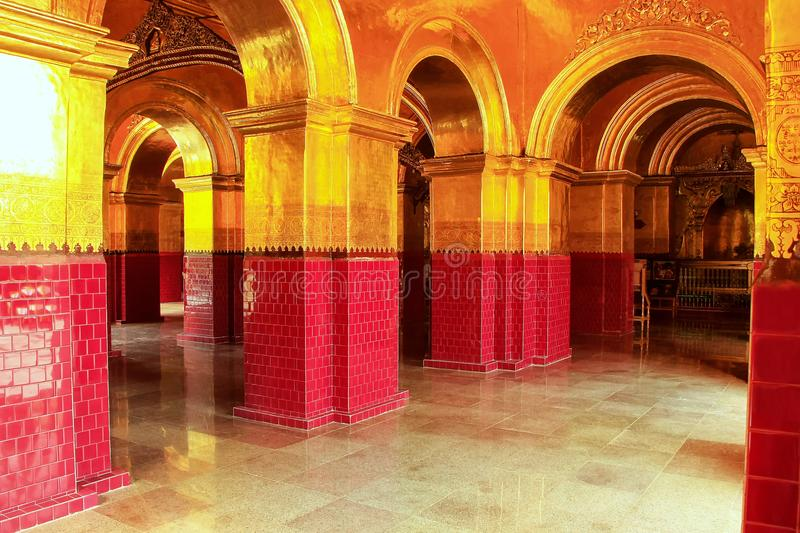 Gallery inside Mahamuni Pagoda complex in Mandalay, Myanmar. Mahamuni Pagoda is a Buddhist temple and major pilgrimage site in Myanmar royalty free stock photo