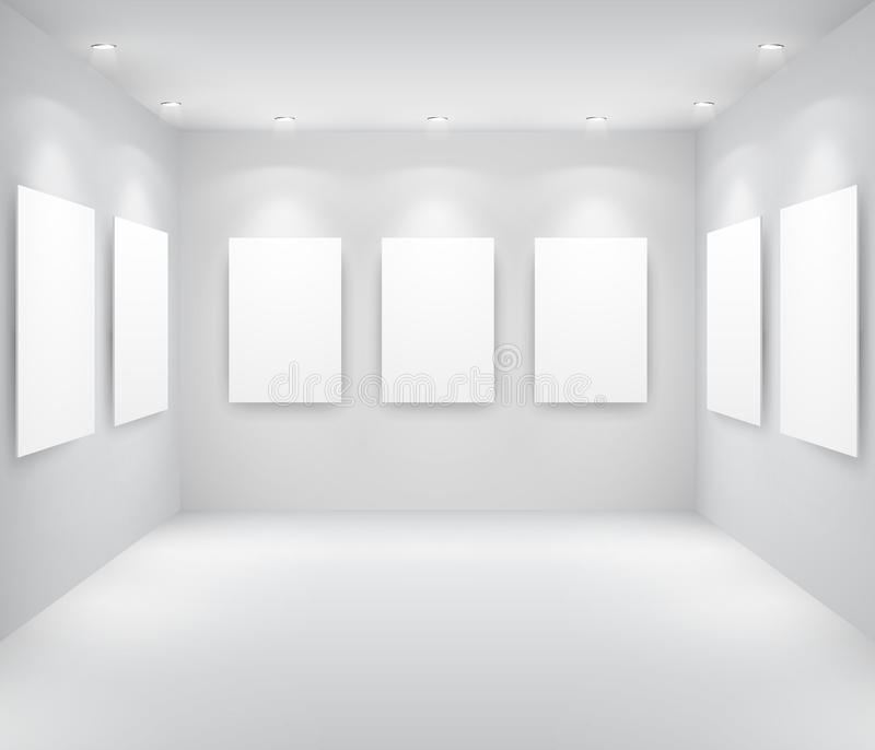 Gallery Interio. R with empty frames on wall