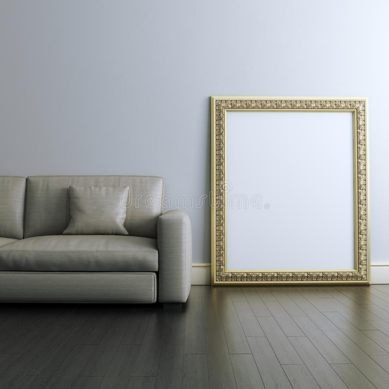 Gallery interior Design With Golden Carved Frame. Gallery Interior Design With Golden Blank Carved Frame royalty free illustration