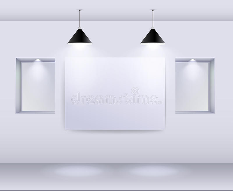 Gallery Interior with empty frame on wall and spotlights