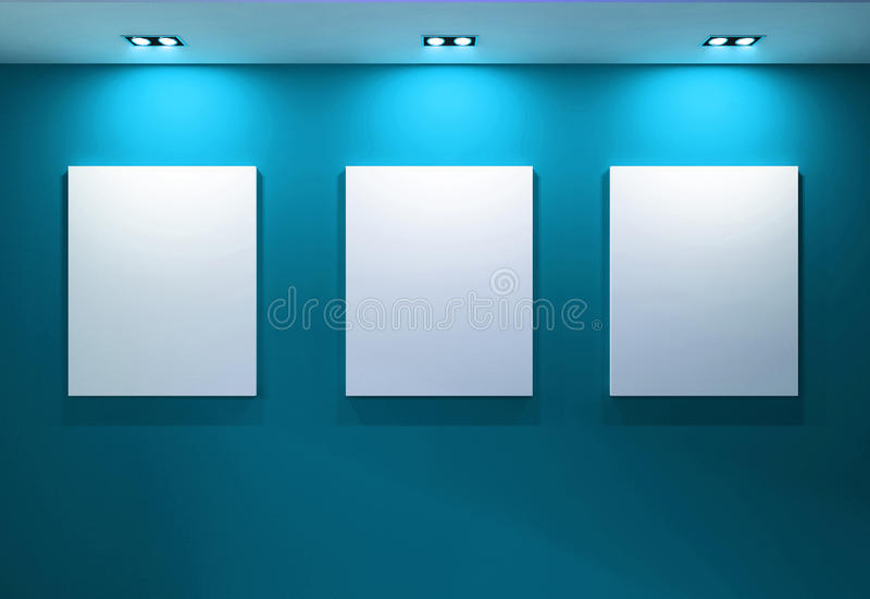 Gallery Interior with empty frames on aqua wall. Space