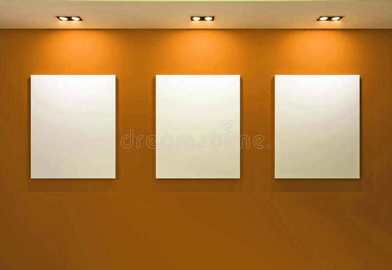 Gallery Interior with empty frames on orange wall royalty free stock photo
