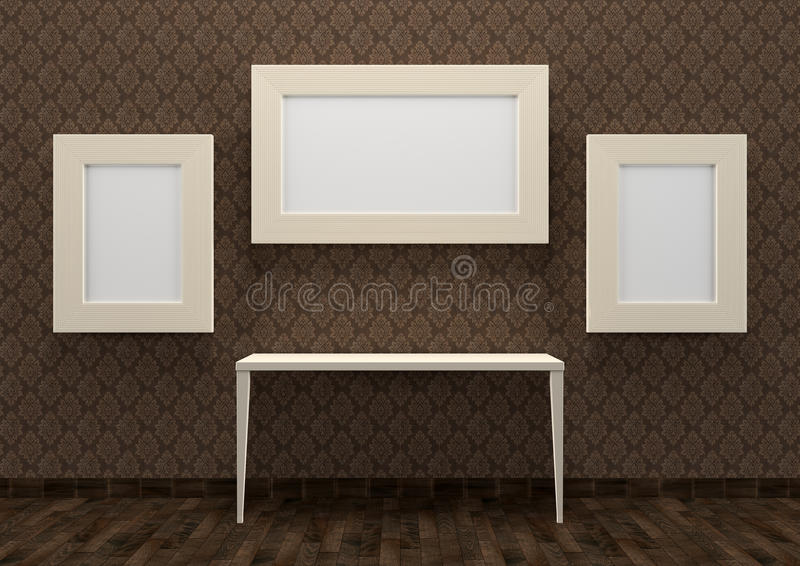 Download Gallery Interior With Table And Empty White Frames Stock Illustration - Illustration of modern, hall: 24901035