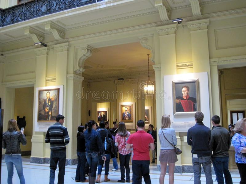 Gallery of the Latin American Patriots of the Bicentennial, located on the ground floor of the palace of the Casa Rosada royalty free stock photography