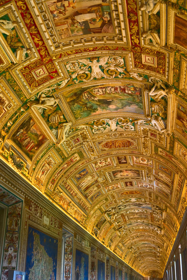 Gallery of Maps in Vatican Museum royalty free stock images