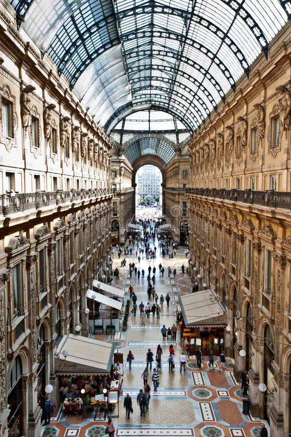 Gallery in Milan. MILAN, ITALY - MAY 2: Unique elevated view of Galleria Vittorio Emanuele II in Milan on May 2, 2012. Built in 1875 this gallery is one of the