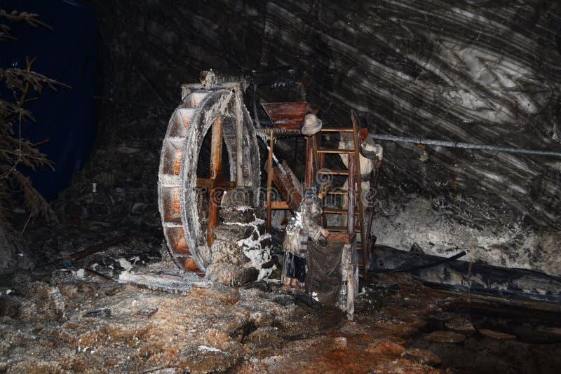 Model water mill in the Ocnele Mari salt mine stock photography