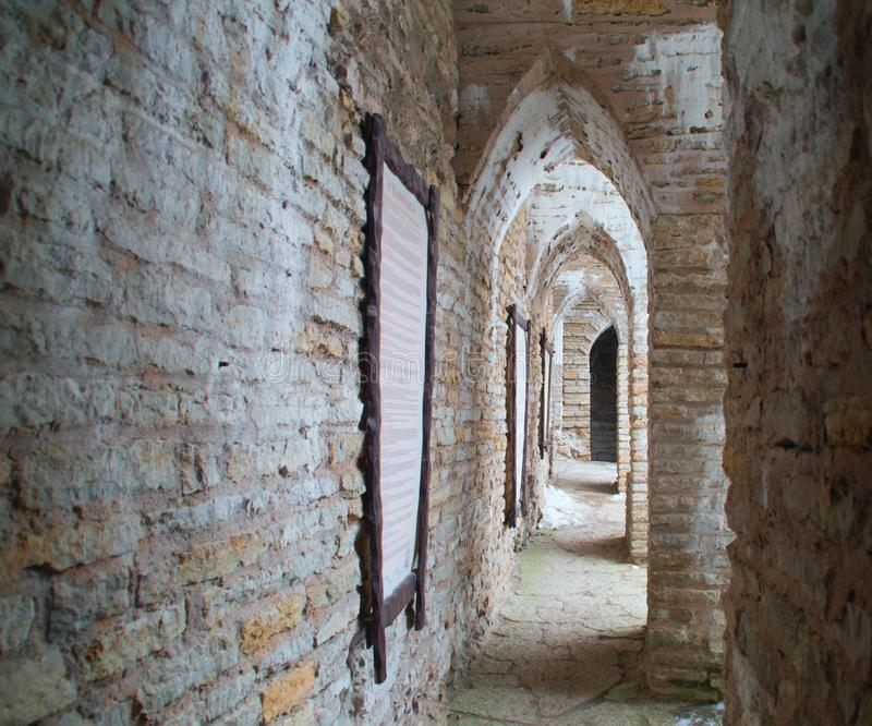 Gallery in the old castle royalty free stock photography