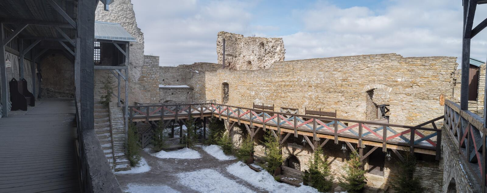 Gallery in the old castle royalty free stock images