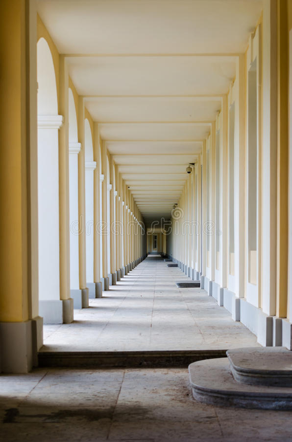Gallery in the Palace of Oranienbaum play of light and shadow. stock image