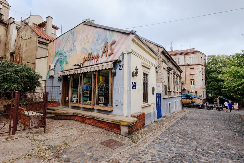 Gallery on Skadarlija Bohemian Street royalty free stock images
