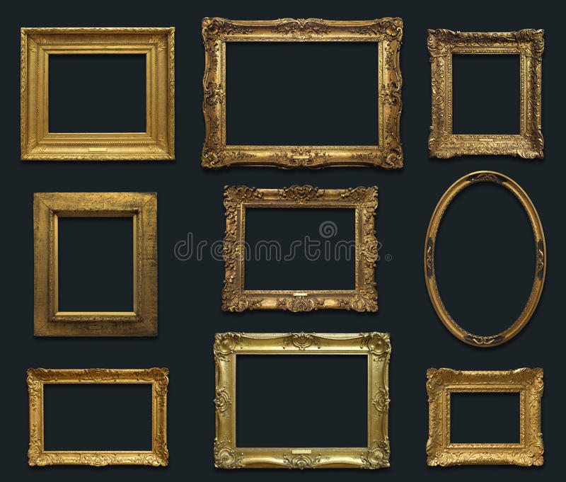 Gallery Wall with Old Frames. Gold antique frames with drop shadow on a uniform dark gray background