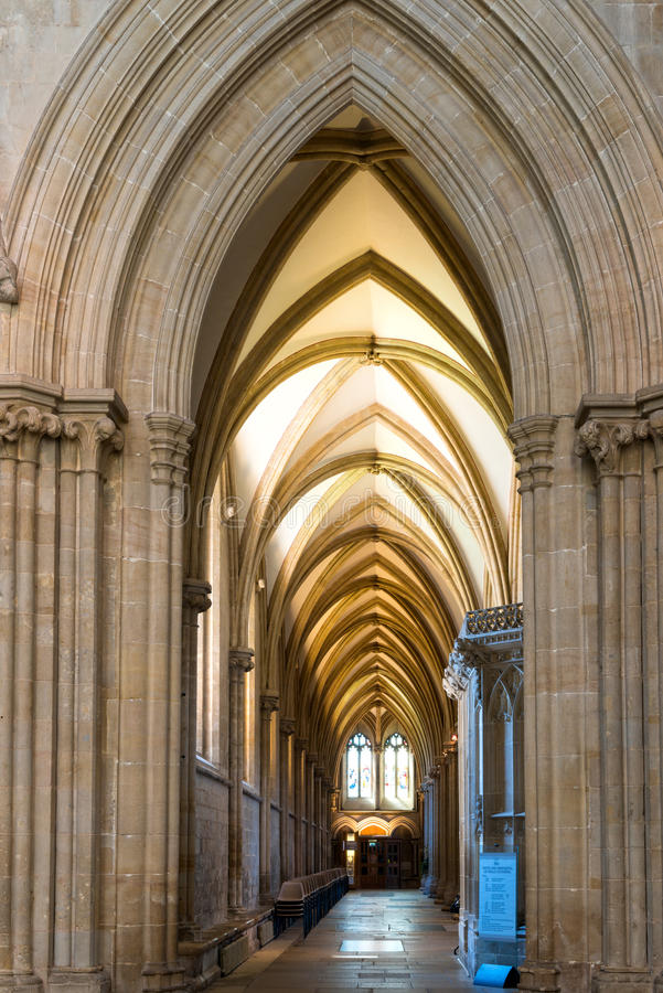 Gallery in Wells cathedral. Wells, United Kingdom - August 6, 2016: Inside the Wells cathedral stock photography