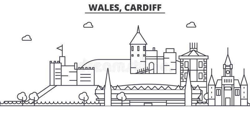Galles, linea illustrazione di architettura di Cardiff dell'orizzonte Paesaggio urbano lineare con i punti di riferimento famosi, royalty illustrazione gratis