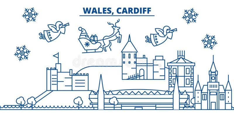 Galles, orizzonte della città di inverno di Cardiff Buon Natale, felice illustrazione vettoriale