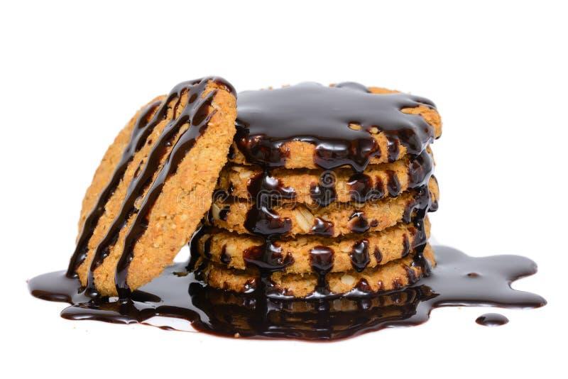 Galleta caliente de la galleta de la pasta dura de chocolate y de la avena imágenes de archivo libres de regalías