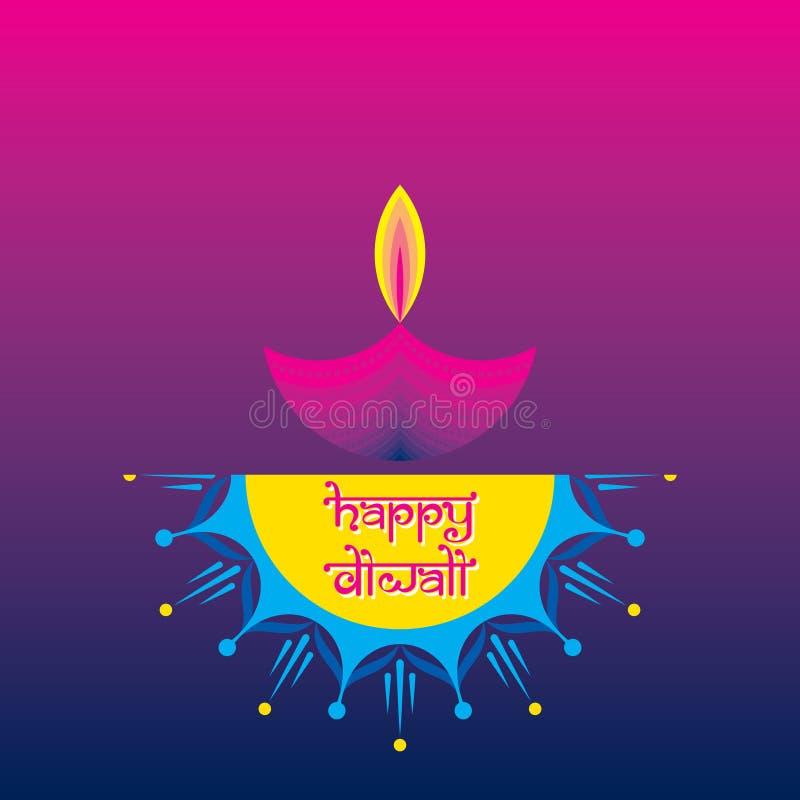 Galleta colorida del fuego con el diya adornado para el día de fiesta feliz de Diwali del diseño del cartel de la India ilustración del vector