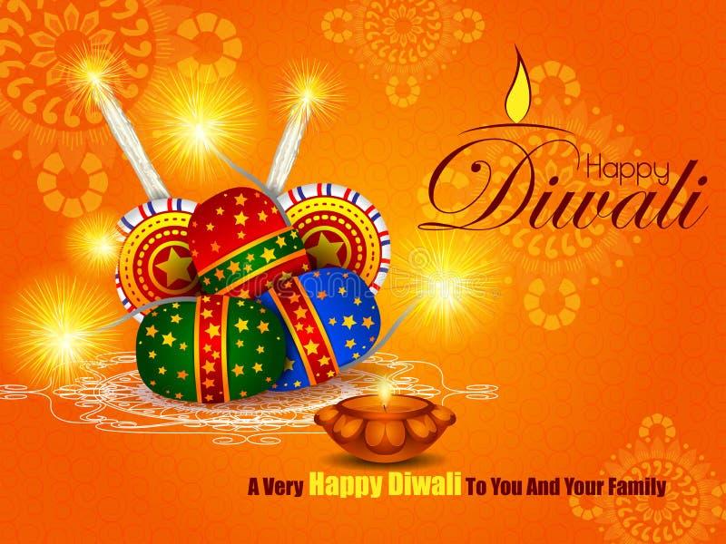 Galleta colorida del fuego con el diya adornado para la celebración feliz del día de fiesta del festival de Diwali del fondo del  libre illustration