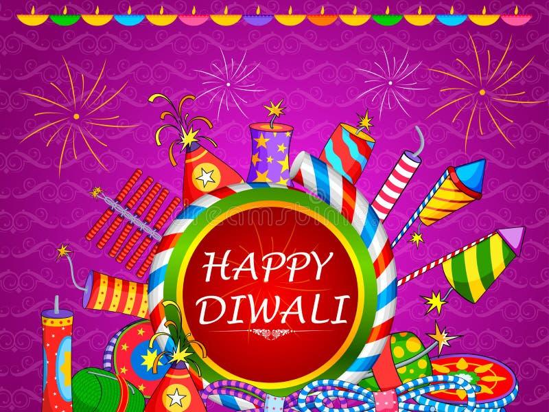 Galleta colorida del fuego para el día de fiesta feliz de Diwali de la India ilustración del vector