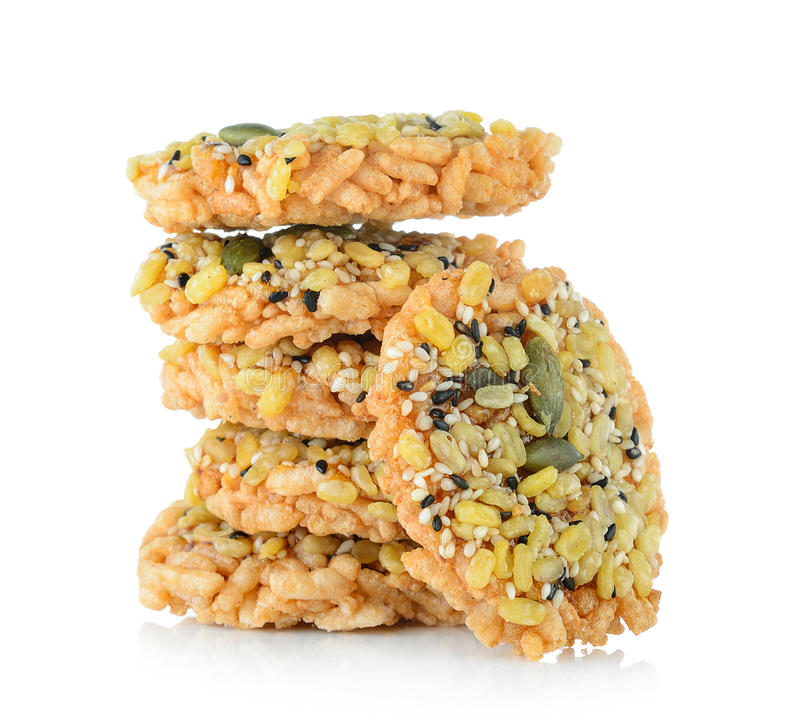 Galleta curruscante dulce tailandesa del arroz con Cane Sugar imágenes de archivo libres de regalías