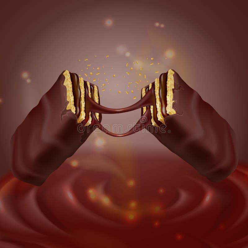 galleta curruscante realista 3d con el chocolate stock de ilustración