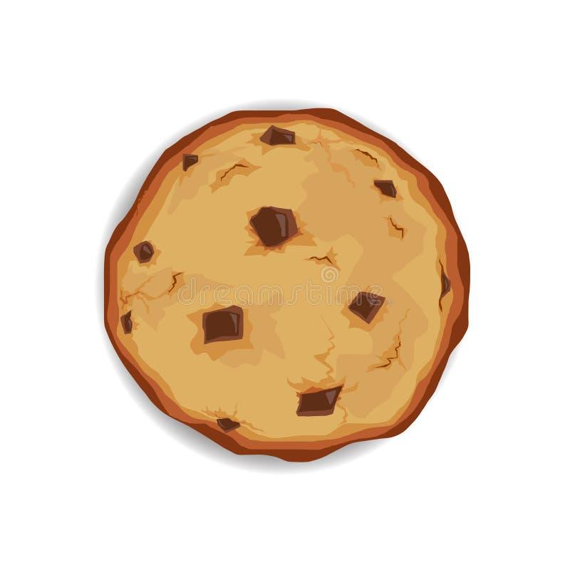 Galleta de chips de chocolate. dieta poco saludable. cookie aislada de ilustración del vector libre illustration