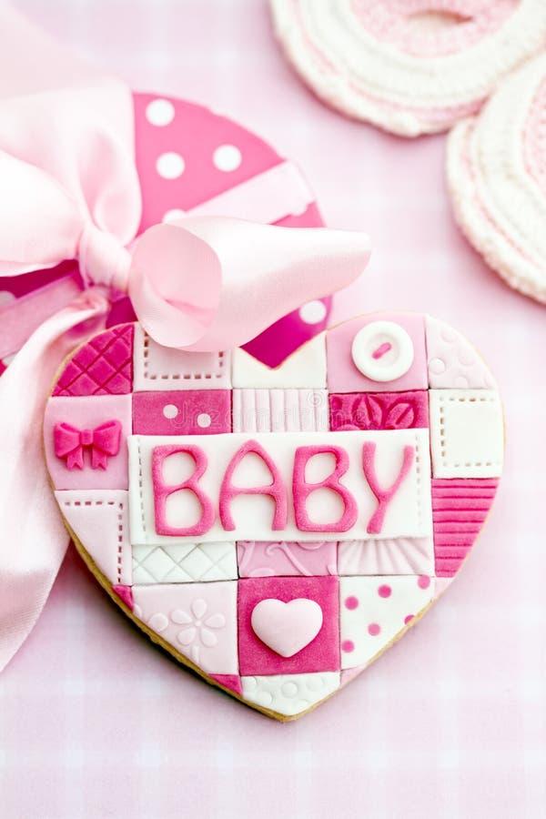 Galleta de la fiesta de bienvenida al bebé imagen de archivo