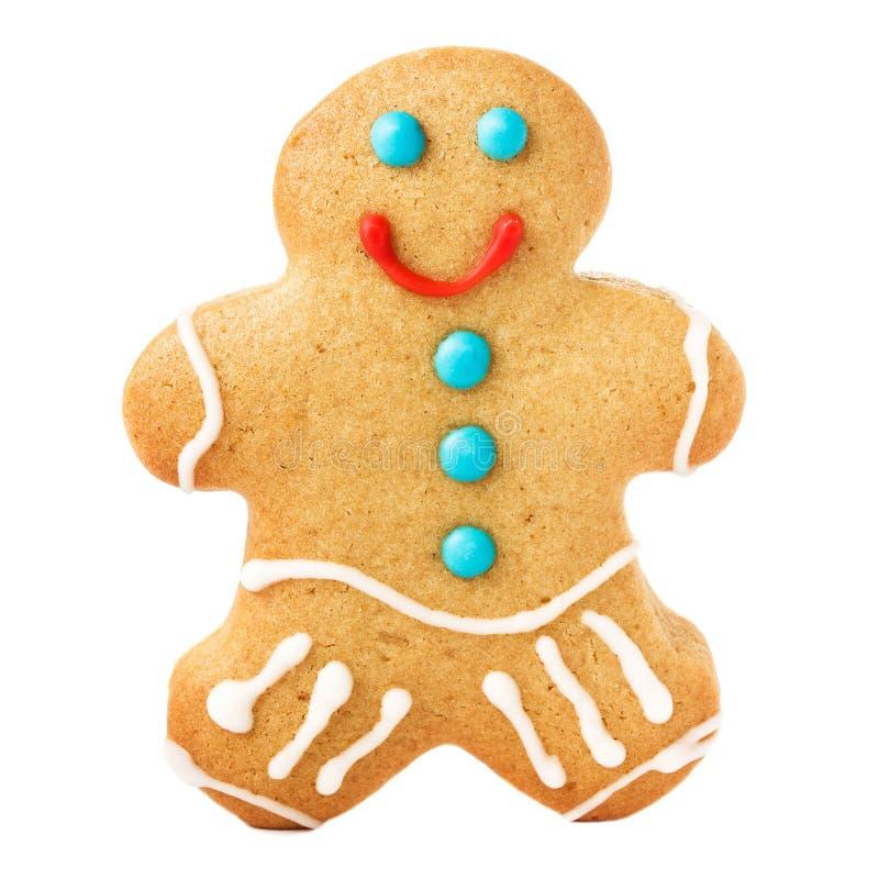 Galleta de la Navidad del hombre de pan de jengibre aislada en el fondo blanco, c fotografía de archivo libre de regalías