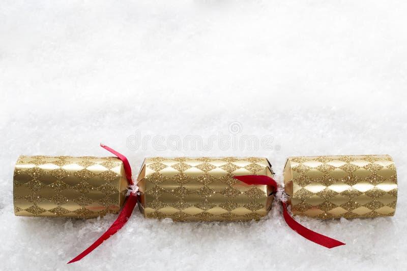 Galleta de la Navidad en nieve imágenes de archivo libres de regalías