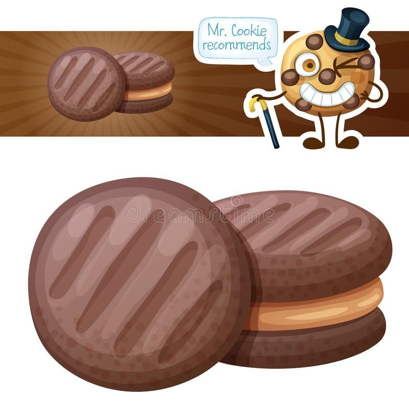 Galleta del chocolate con el ejemplo de relleno de la mantequilla de cacahuete Icono del vector de la historieta en el fondo blan ilustración del vector