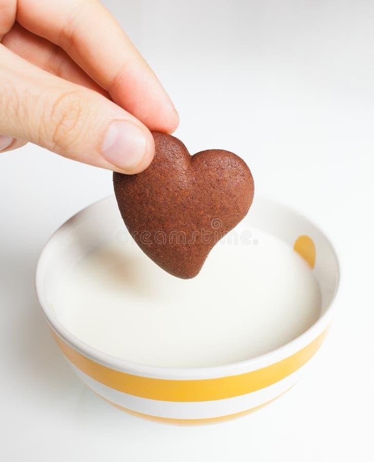 Galleta del chocolate en la leche fotos de archivo libres de regalías