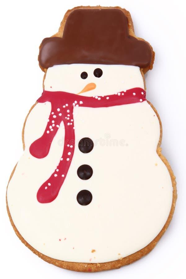 Galleta del pan de jengibre del muñeco de nieve imagen de archivo