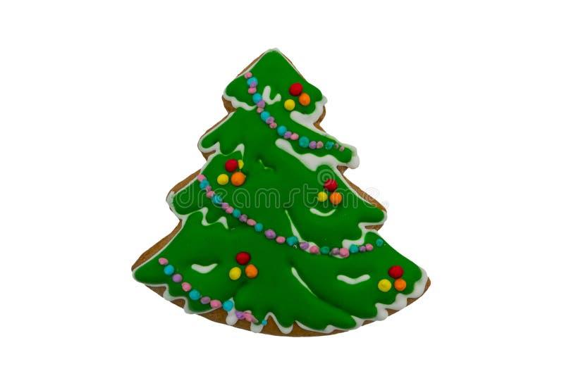 Galleta del pan de jengibre de la Navidad hecha en la forma del árbol de navidad aislada en blanco fotos de archivo libres de regalías