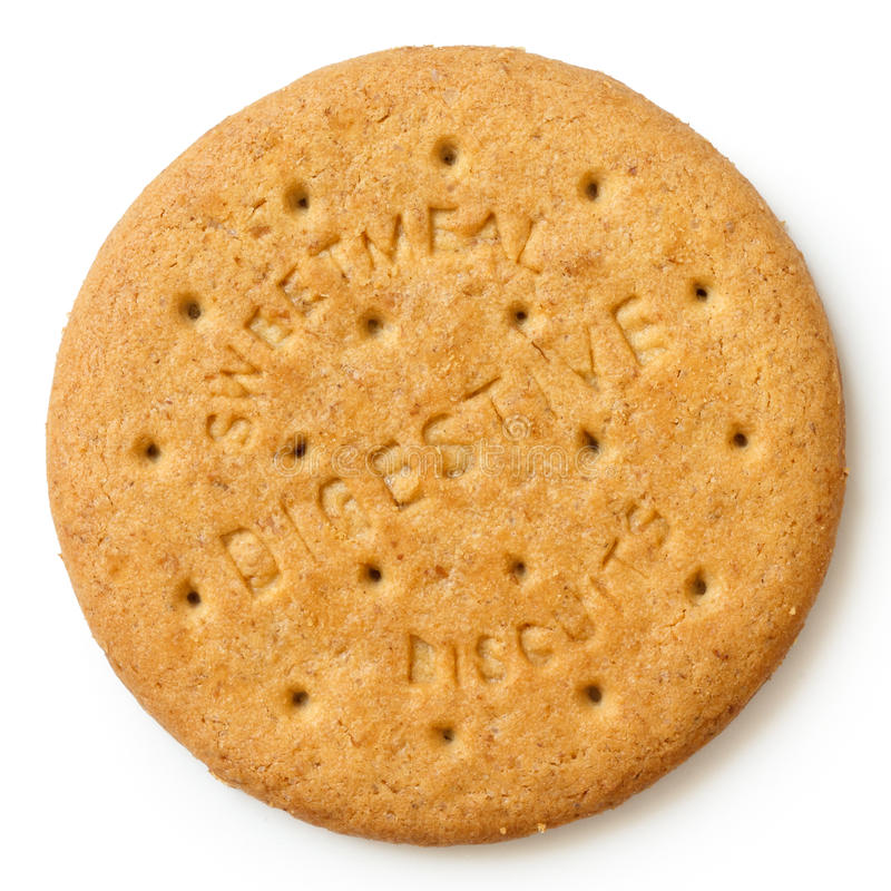Galleta digestiva sweetmeal redonda aislada desde arriba foto de archivo