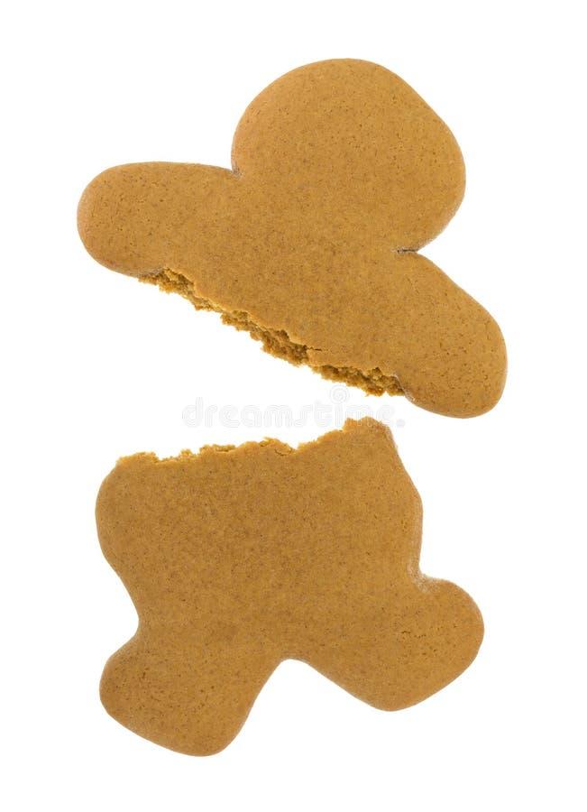 Galleta en blanco del hombre de pan de jengibre rota imagen de archivo