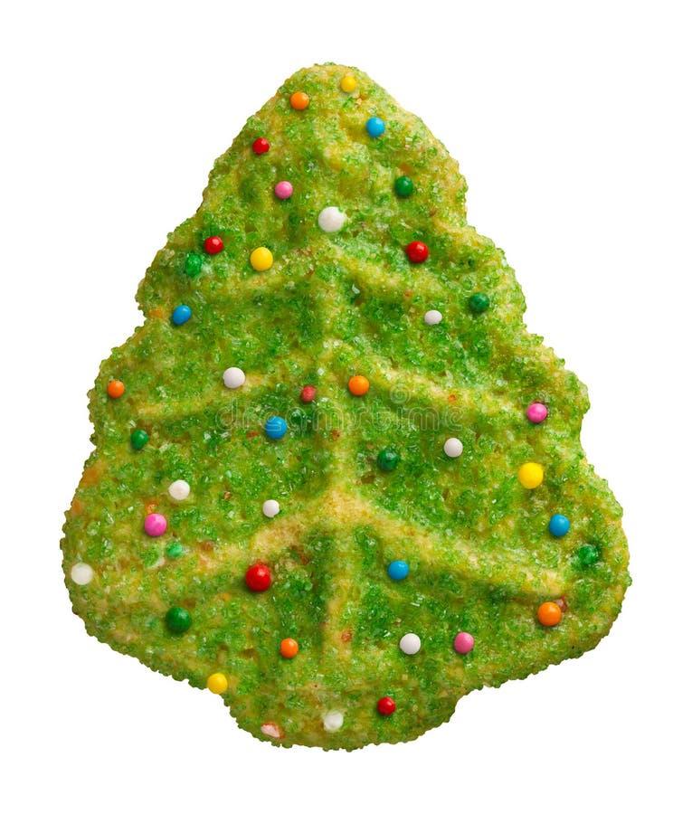 Galleta verde del árbol de navidad fotos de archivo