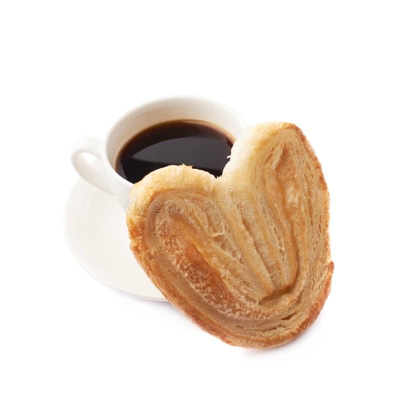 Galleta y café en forma de corazón foto de archivo libre de regalías