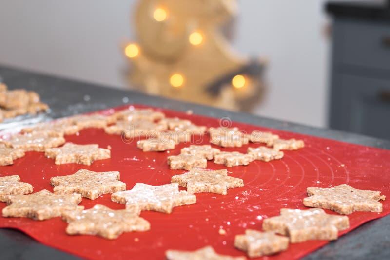 Galletas cocidas hechas en casa asteroides de la Navidad del canela foto de archivo libre de regalías