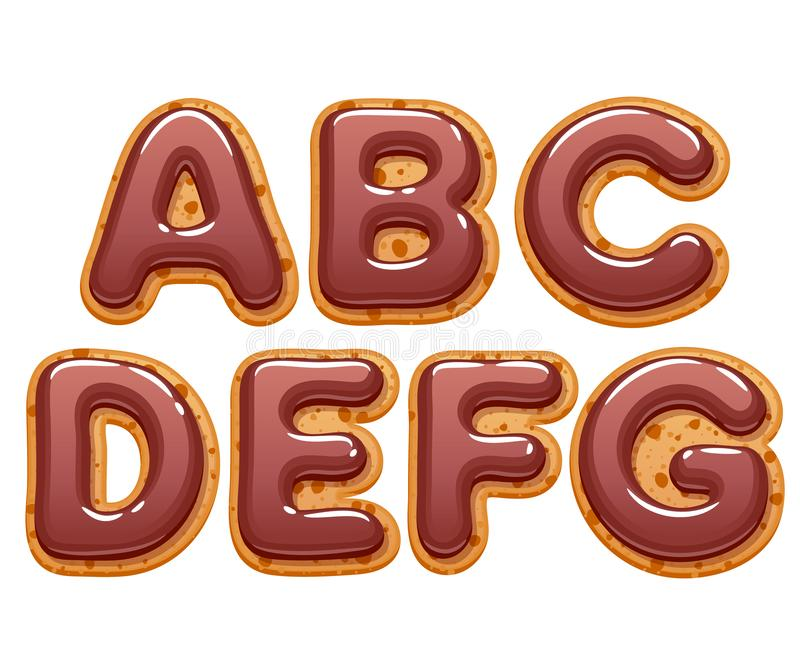 Galletas con el chocolate que hiela el sistema de las letras del ABC stock de ilustración