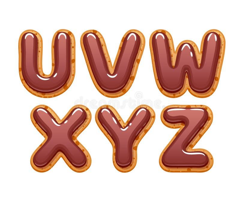 Galletas con el chocolate que hiela el sistema de las letras del ABC ilustración del vector