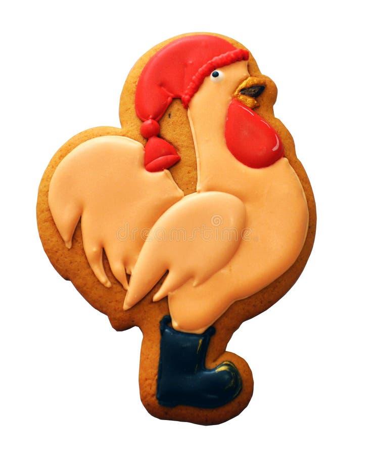 Galletas con el pollo del modelo de la Navidad fotografía de archivo libre de regalías