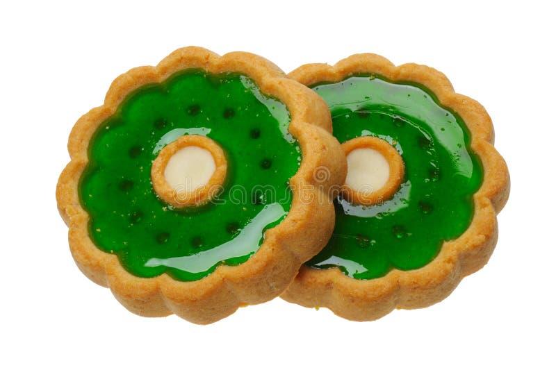 Galletas con la jalea verde, aislada fotografía de archivo