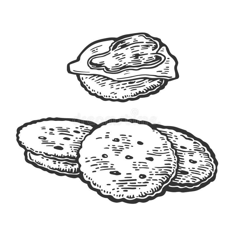 Galletas con mantequilla y atasco ilustración del vector